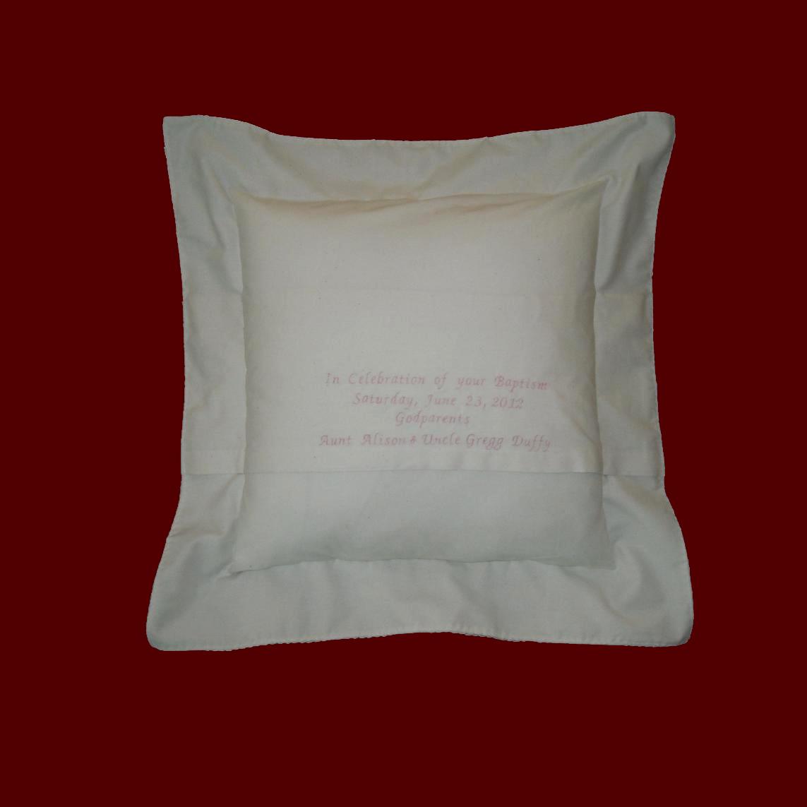 muslin keepsake personalized baby pillow christening pillows smocked treasures. Black Bedroom Furniture Sets. Home Design Ideas