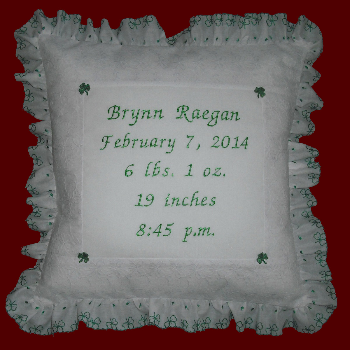 Keepsake Irish Baby Pillow