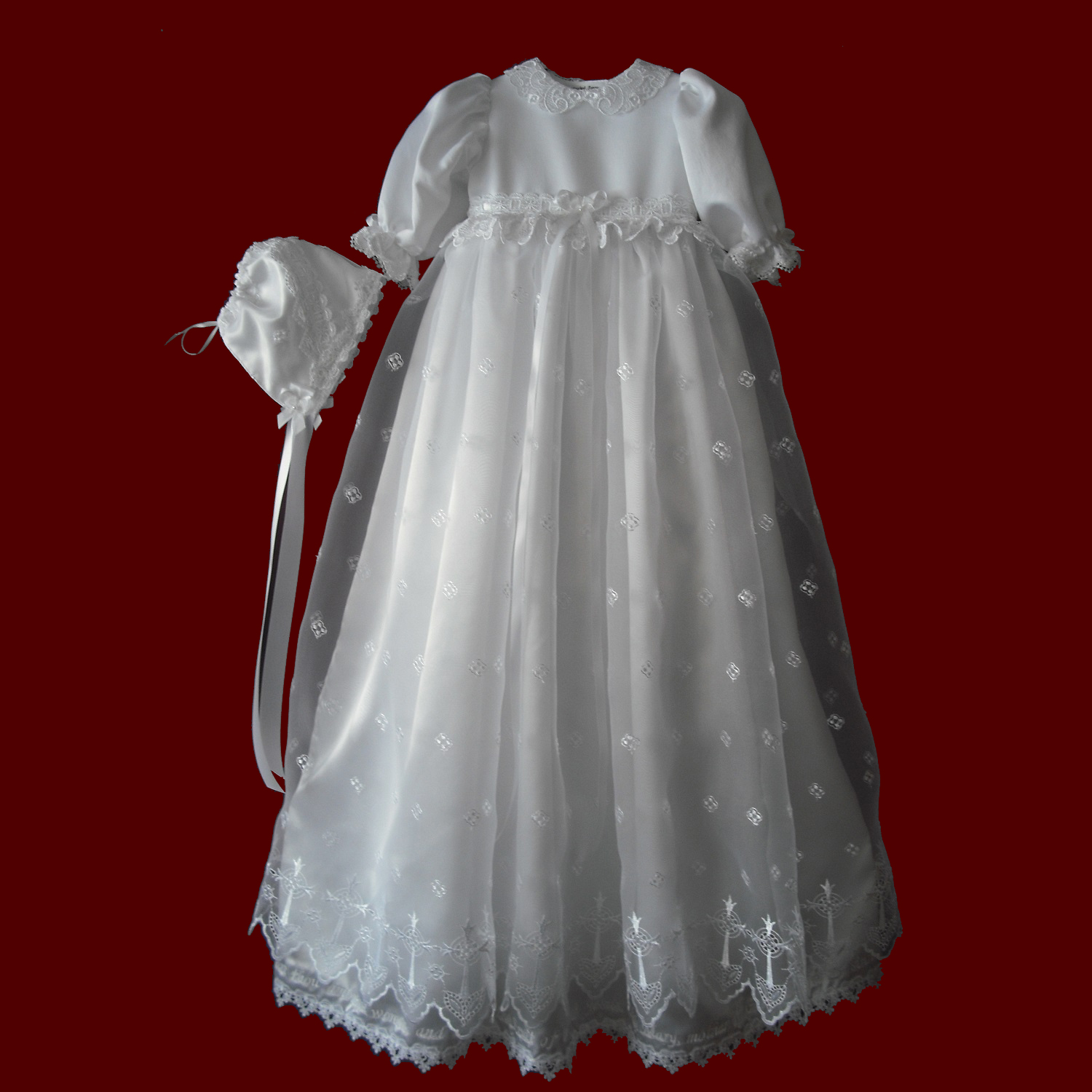 Organza With Crosses & Embroidered Hail Mary Prayer Gown