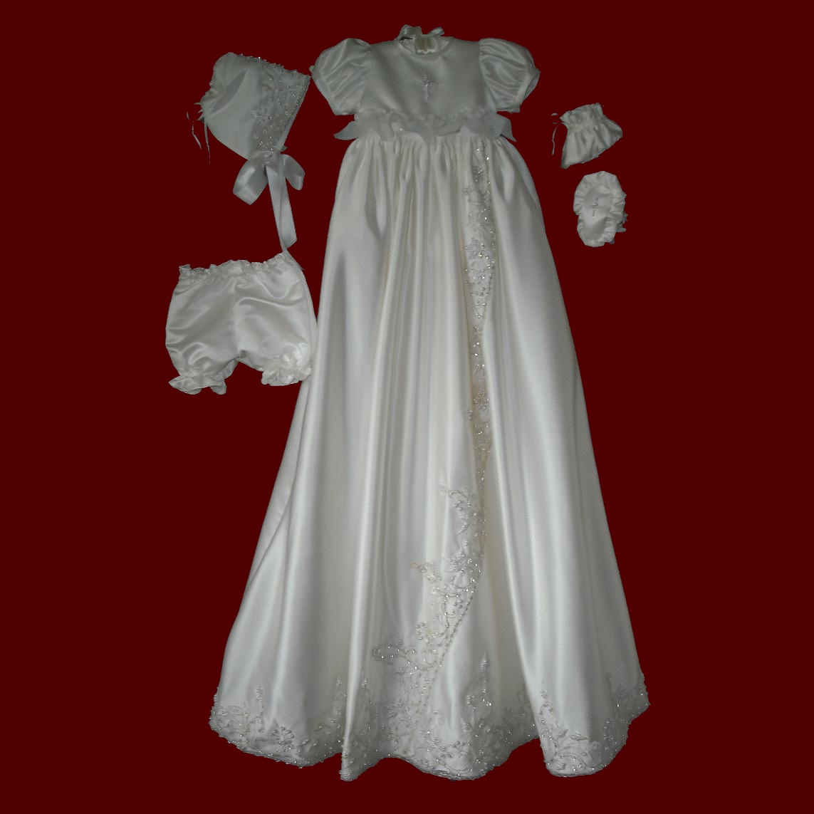 Satin & Beaded Trim Girls Detachable Christening Gown, Panties & Bonnet