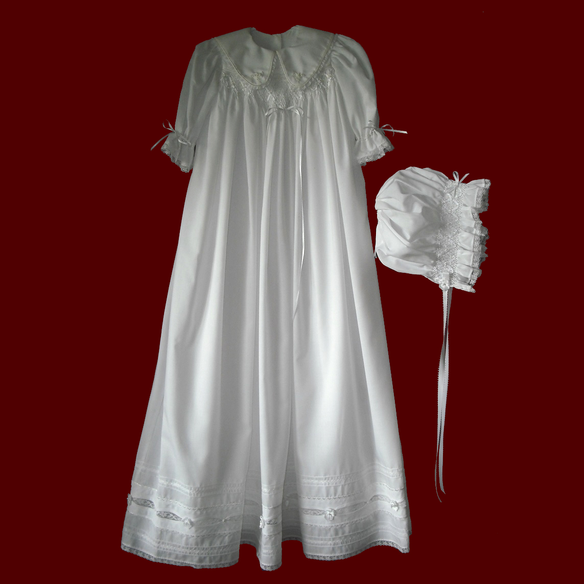 Hand Smocked Girls Christening Gown & Bonnet