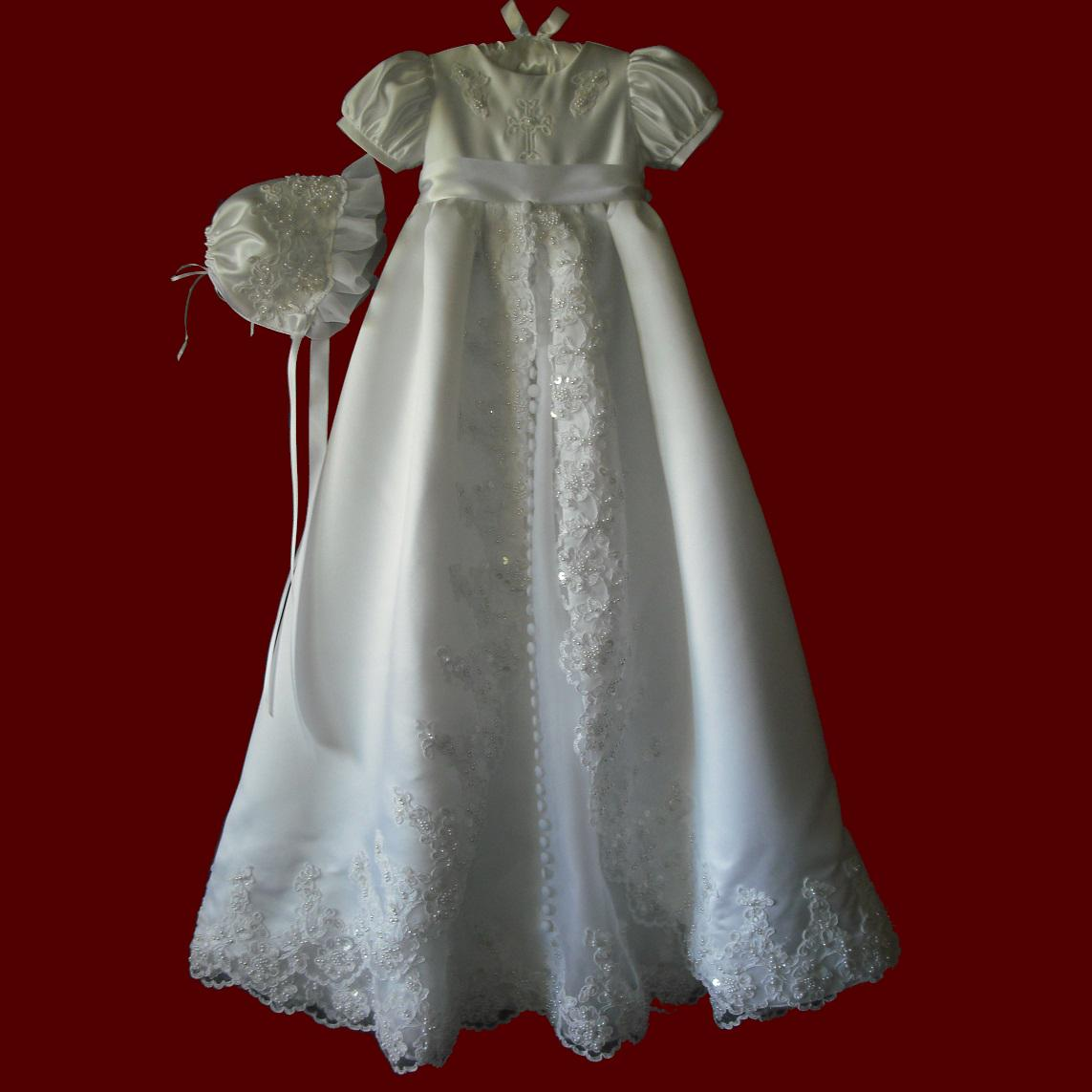 Satin & Organza Christening Gown With Beaded Lace & Embroidered Cross, Slip & Hat