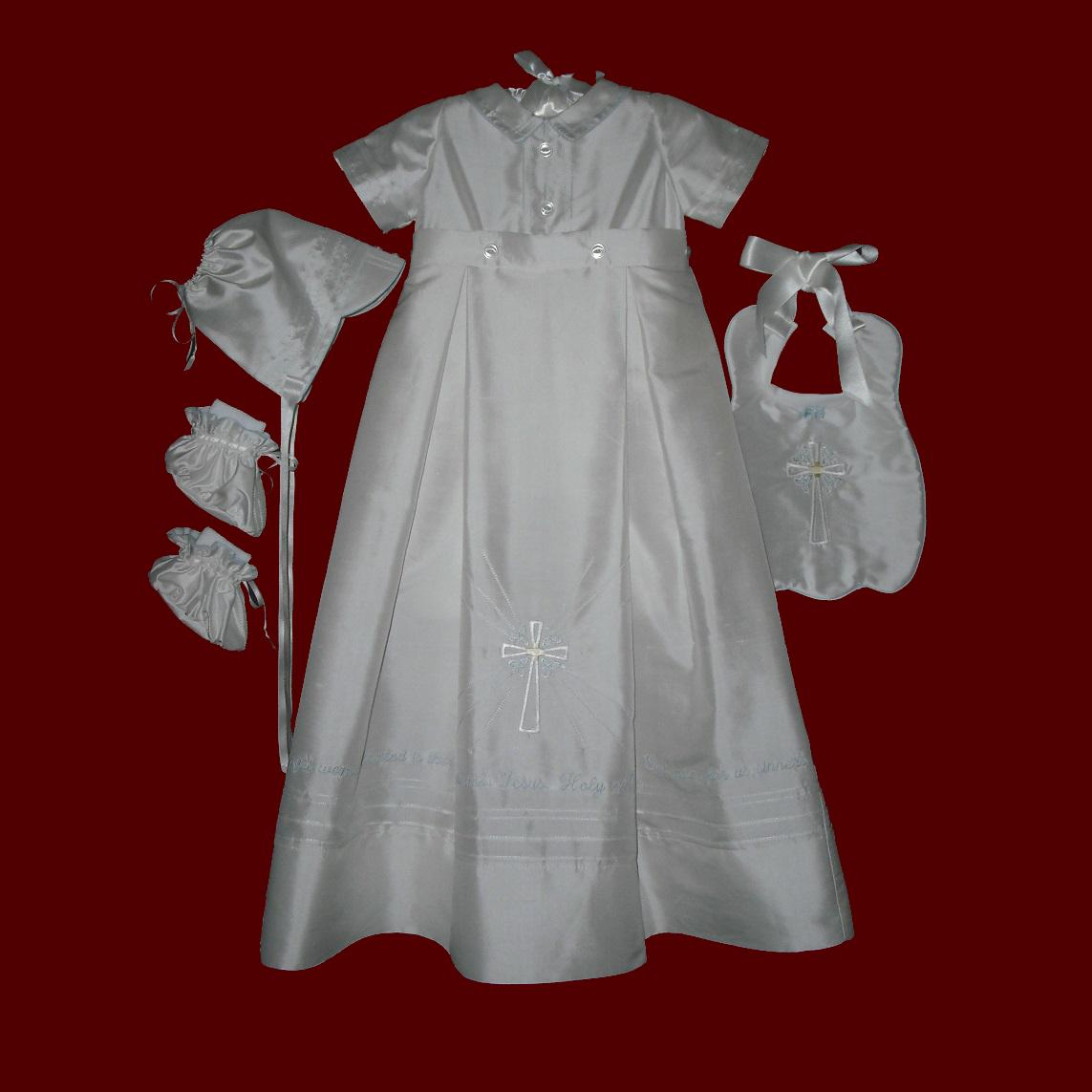 Boys Christening Romper With Detachable Gown With Embroidered Prayer & Accessories