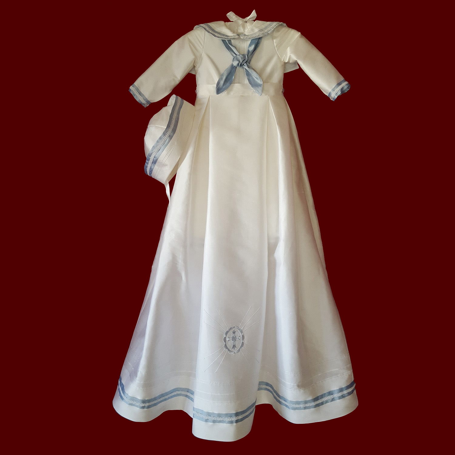 Sailor Style Christening Romper With Blue Accents & Braid With Detachable Gown & Hat