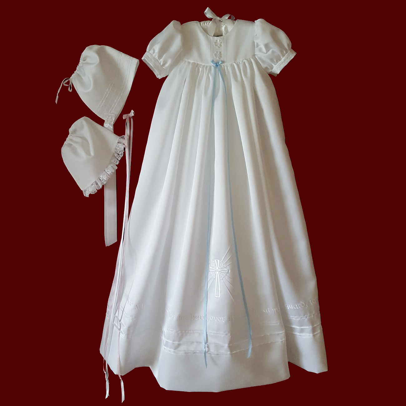 Guardian Angel Unisex Christening Gown, Personalized Slip & Girl/Boy Hat