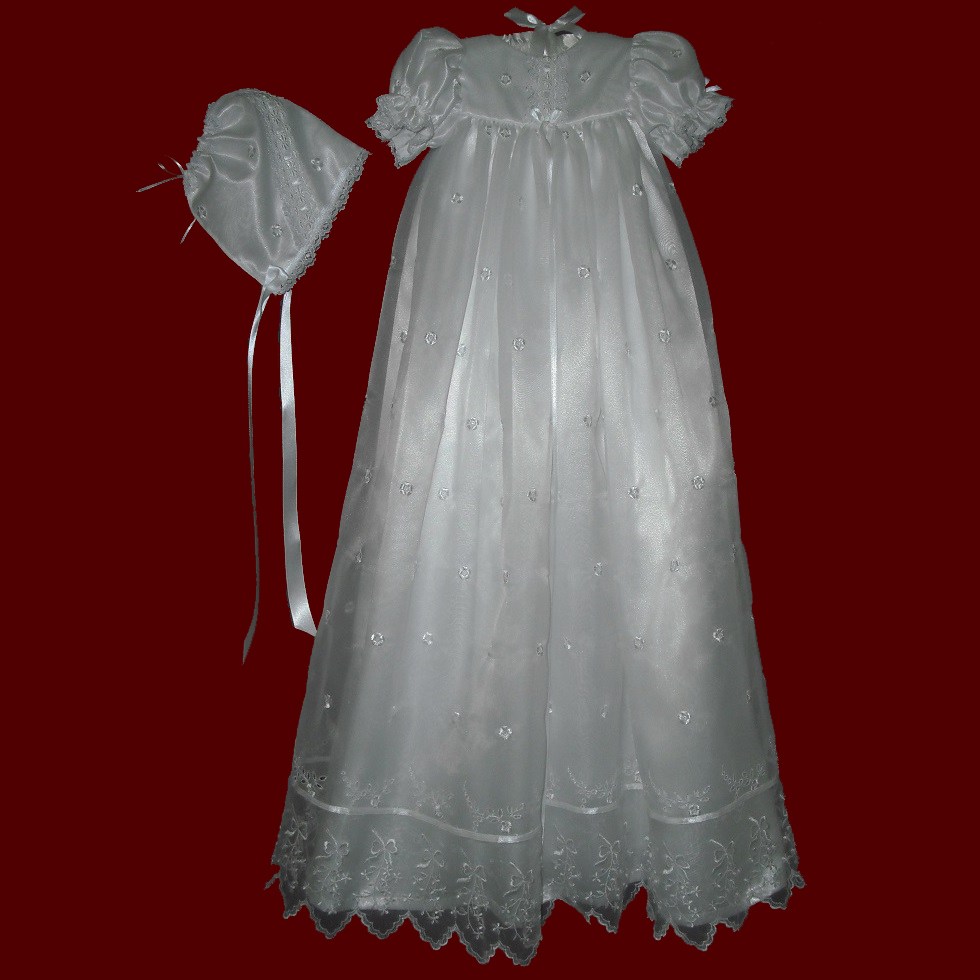 Organza with Bows Christening Gown, Personalized Slip & Bonnet