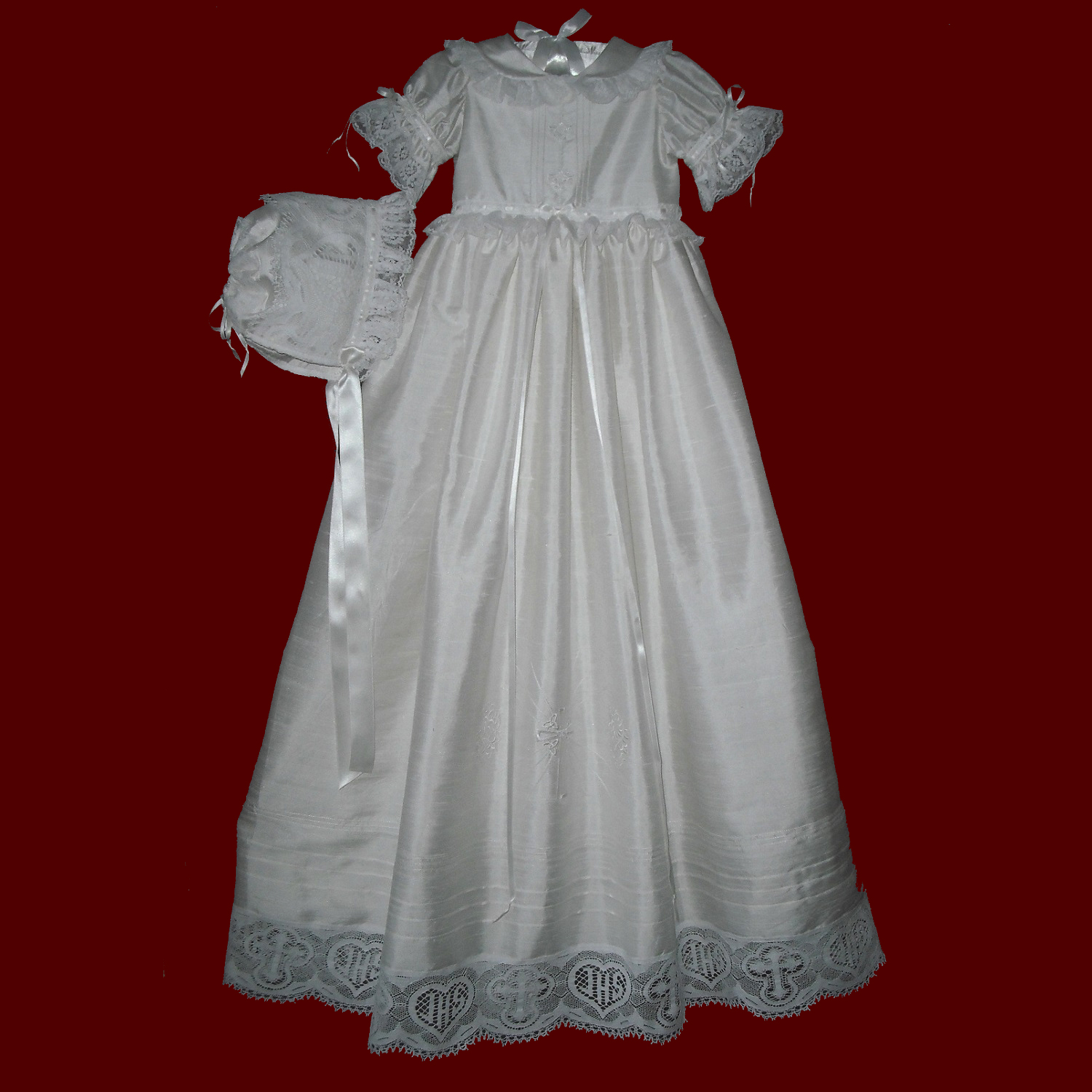 Girls Christening Gown With Heart/Cross Victorian Lace & Fleur-de-lis Embroidery, Slip & Bonnet