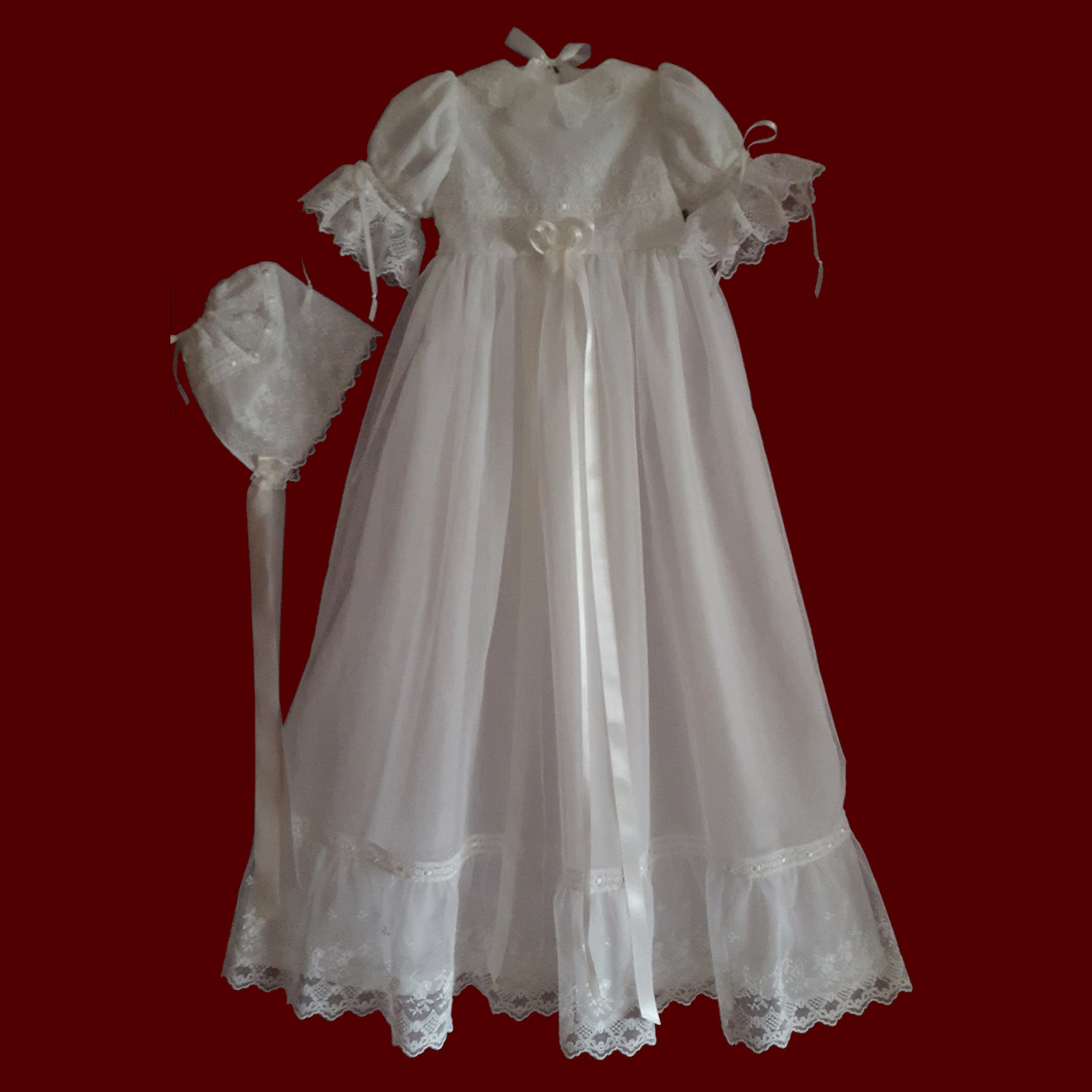 Embroidered English Netting Lace Christening Gown, Slip & Bonnet, Size 3-6 Months