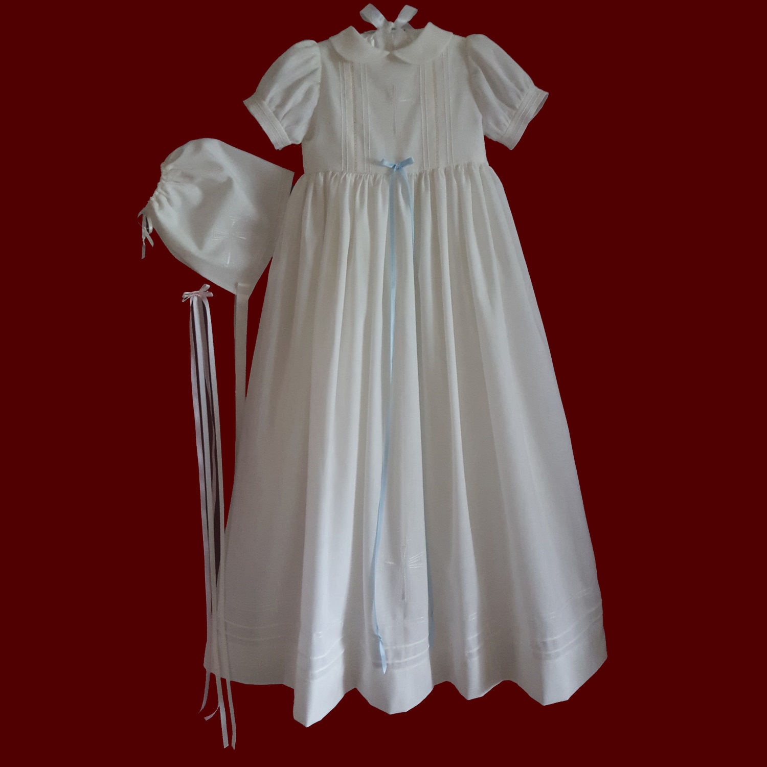 Unisex Christening Gown with Embroidered Cross, Personalized Slip & Bonnets