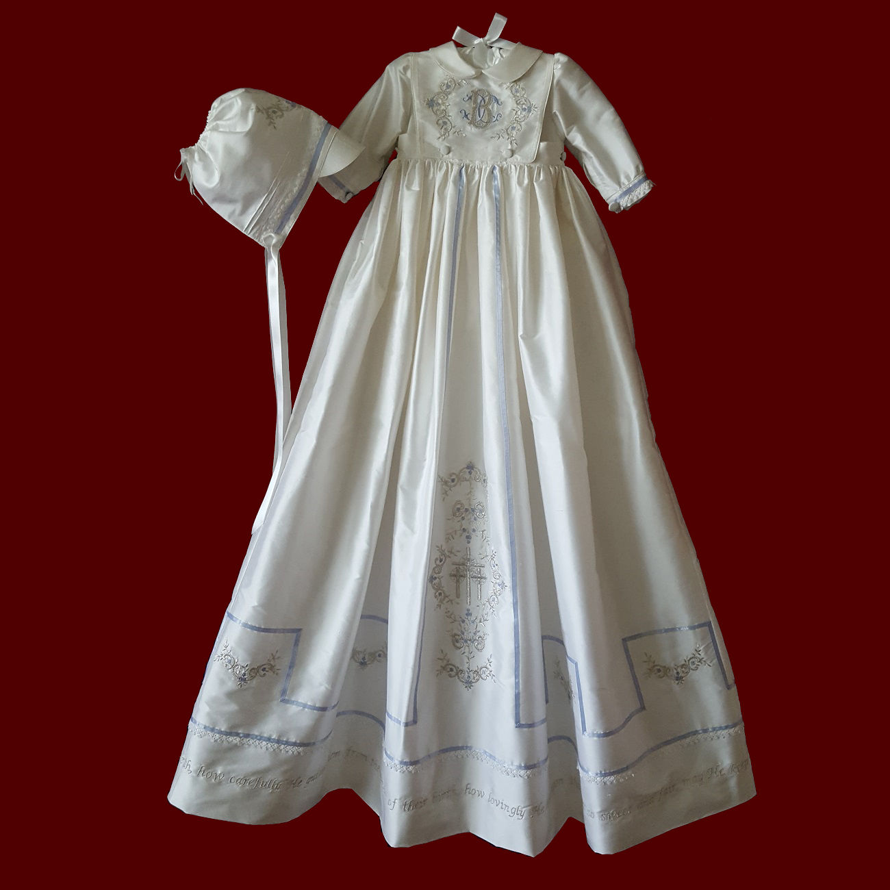 Boys Silk Christening Romper With Detachable Gown & Bib With Silver Embroidery & Gods Prayer