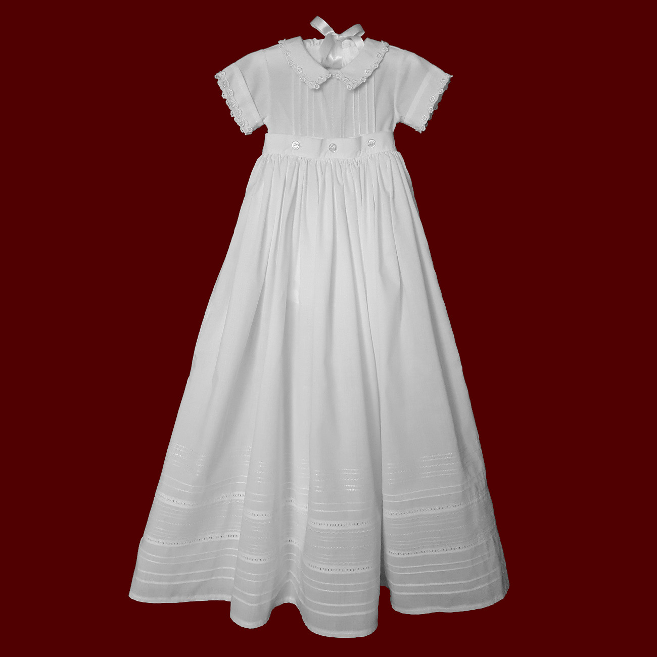 Unisex Christening Romper With Detachable Gown & Hat