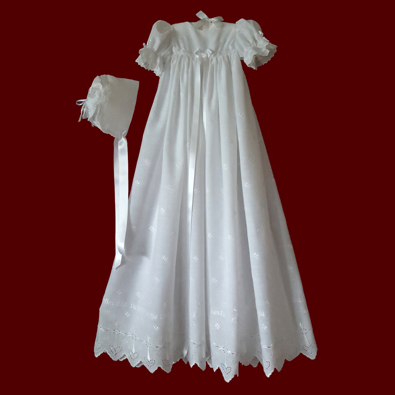 Spanish Hail Mary Embroidered Eyelet With Cross & Heart Design Christening Gown, Slip & Bonnet