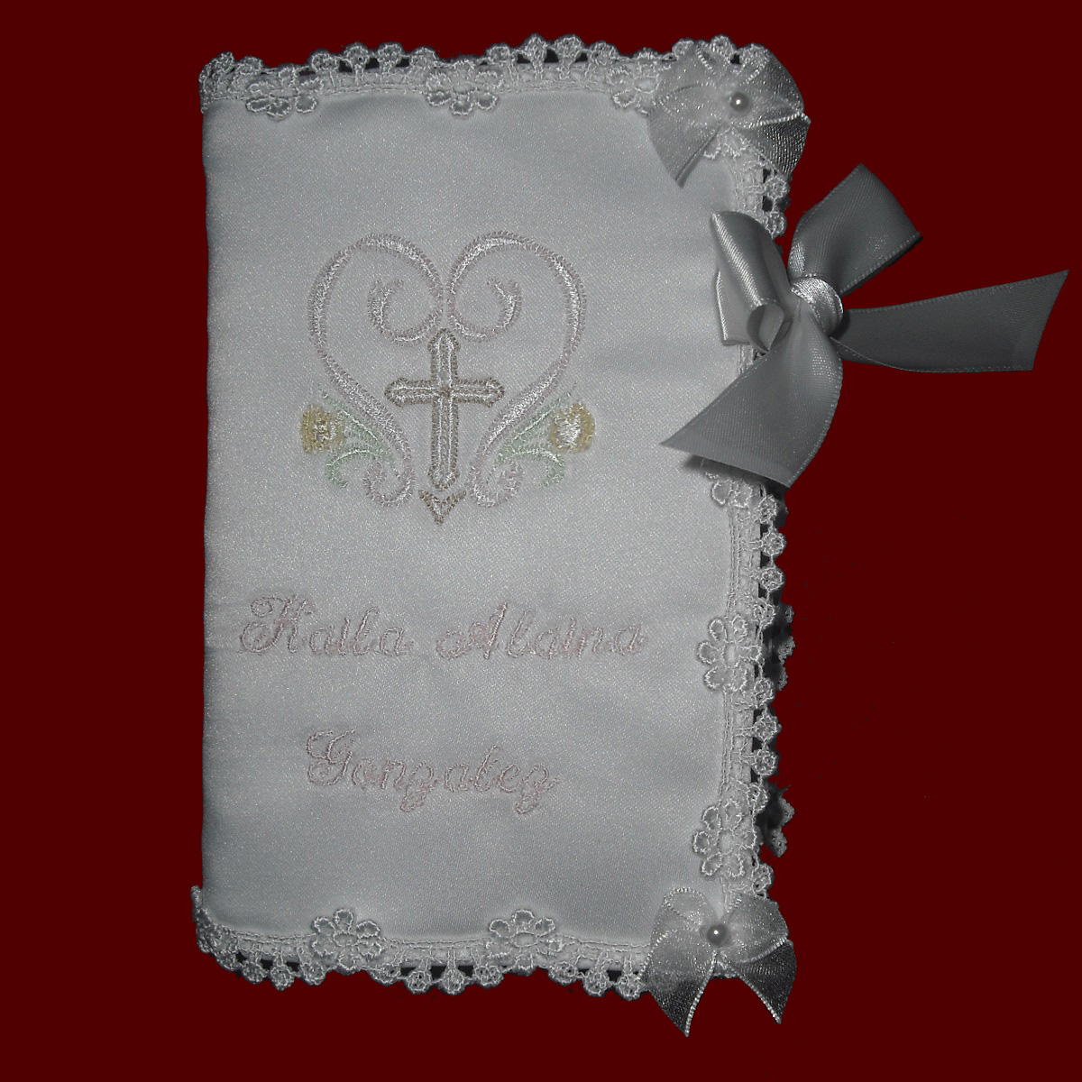 Girls Keepsake Bible With Embroidered Cross Christening
