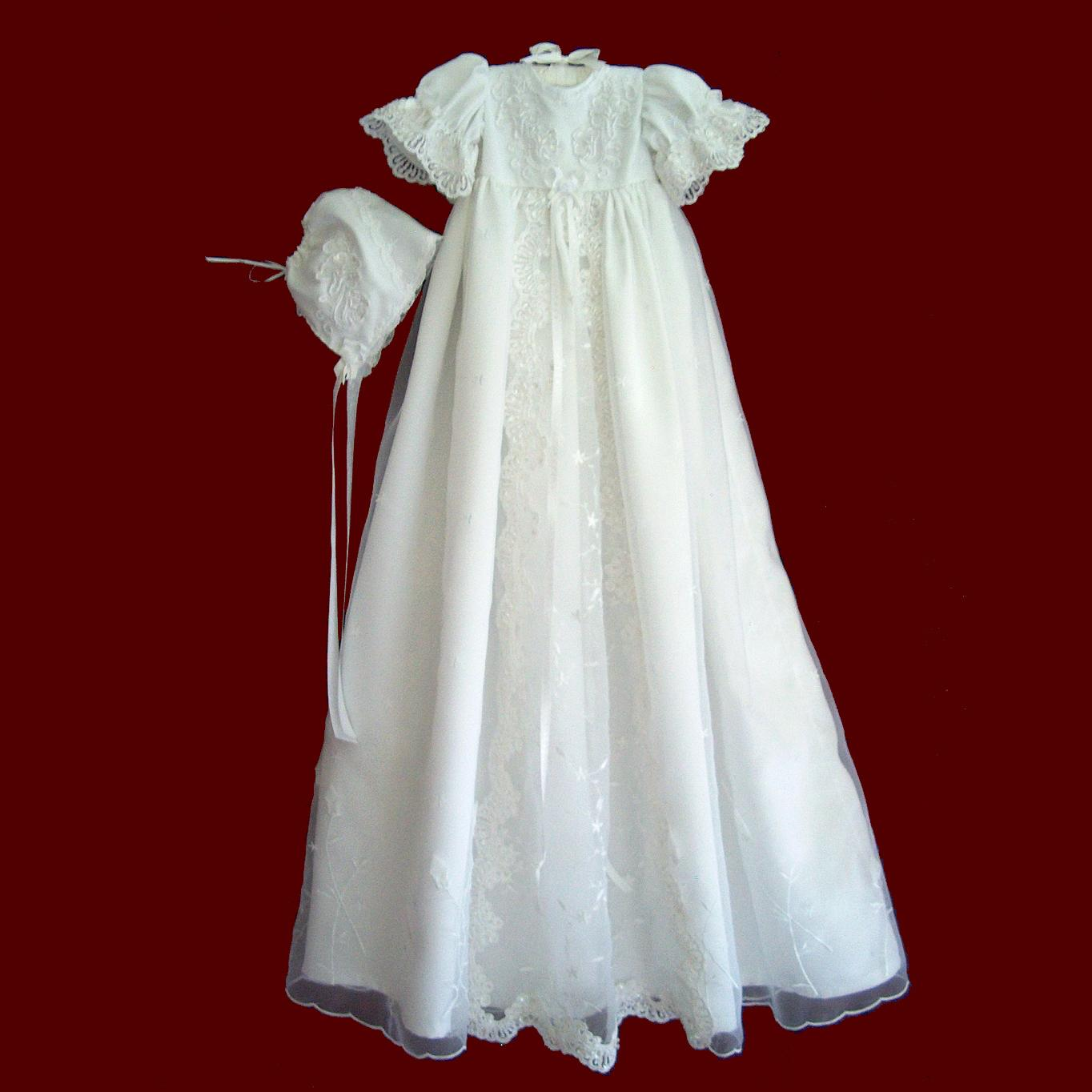 Rosebud Embroidered Organza with Beaded & Floral Inset Christening Gown & Bonnet
