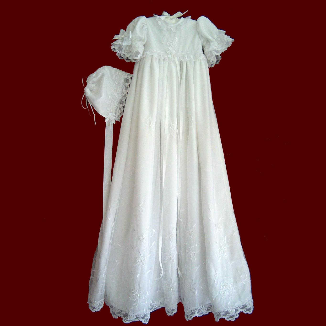 Beaded and Embroidered Netting Girls Designer Christening Gown ...