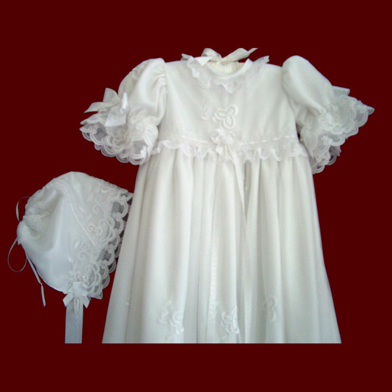 Beaded And Embroidered Netting Girls Designer Christening