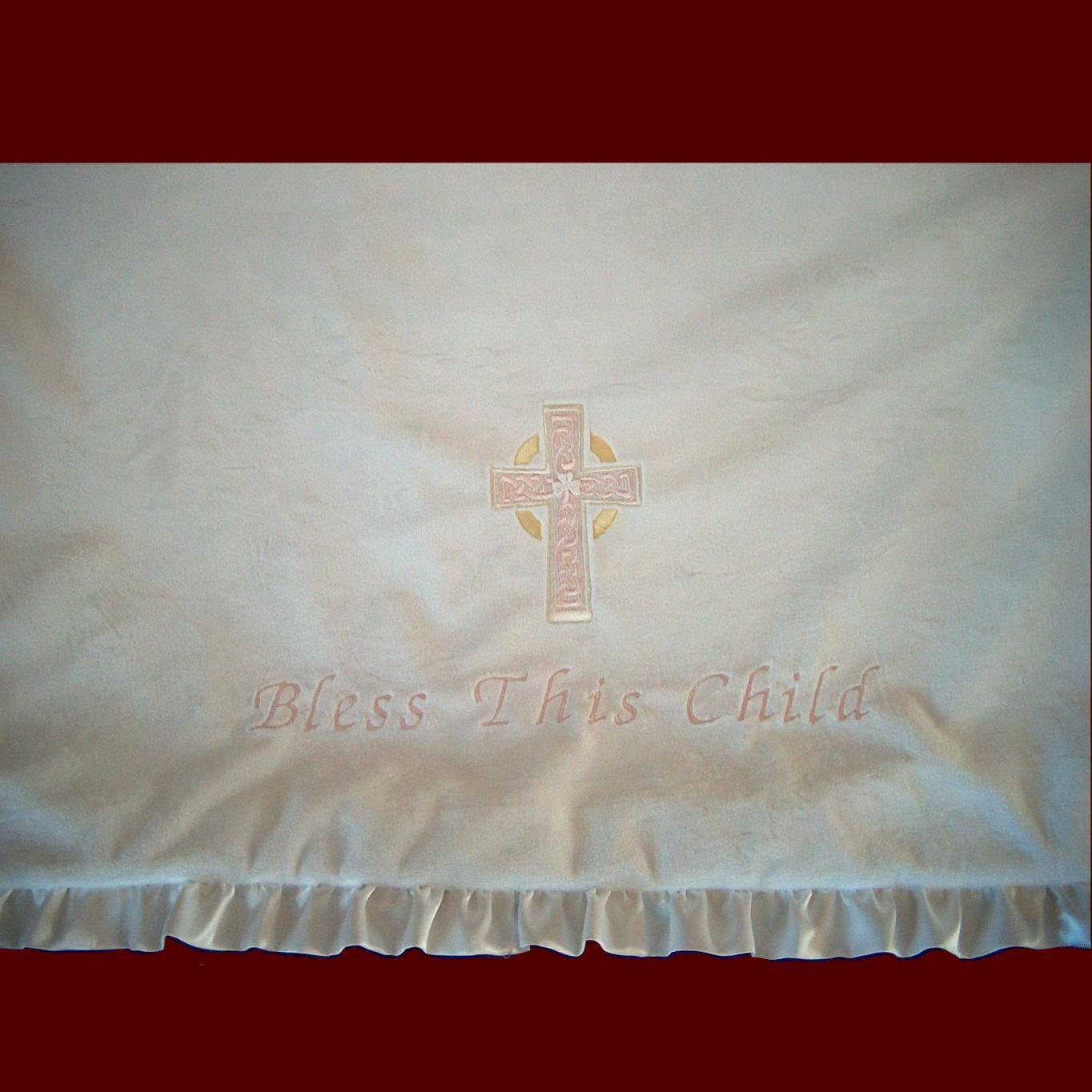 Girls Minky Irish Christening Blanket