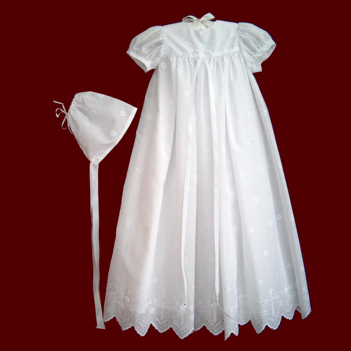 Cotton Embroidered Crosses With Shamrocks Christening Gown