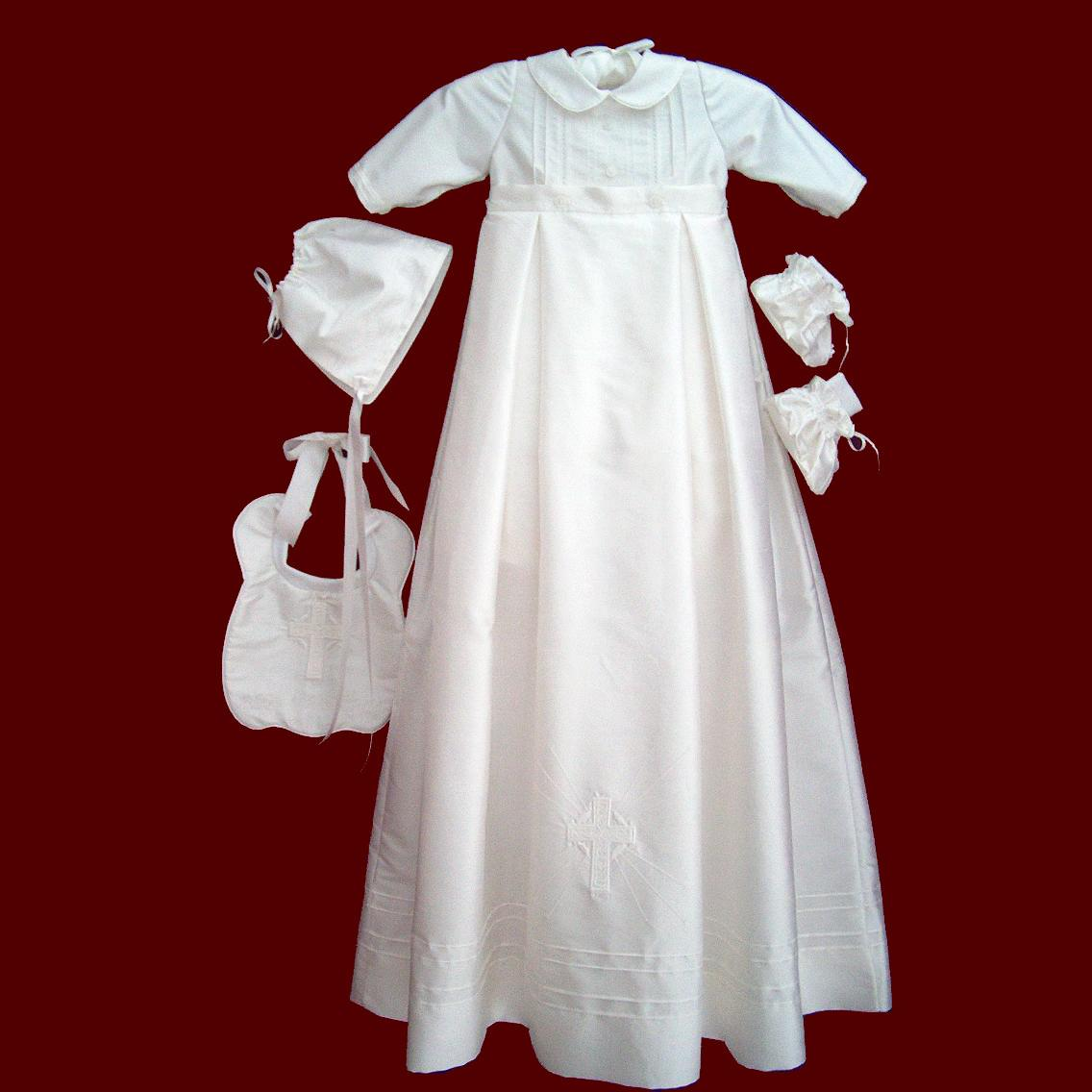 Silk Dupione Boys Christening Romper With Detachable Celtic Gown & Accessories