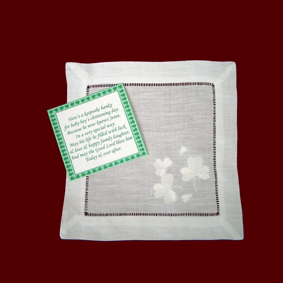 Hemstitched Linen Hanky With Shamrocks