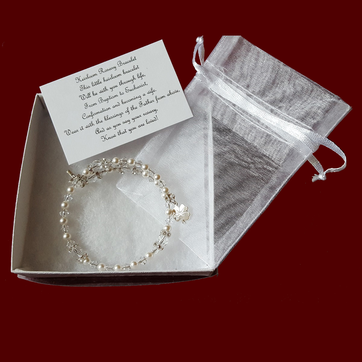 Crystal Rosary Bracelet With Shamrock Charm