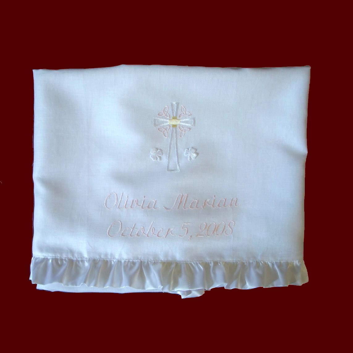 Irish Linen Celtic Cross Trinity Knots Pale Pink Accents, Name/Date