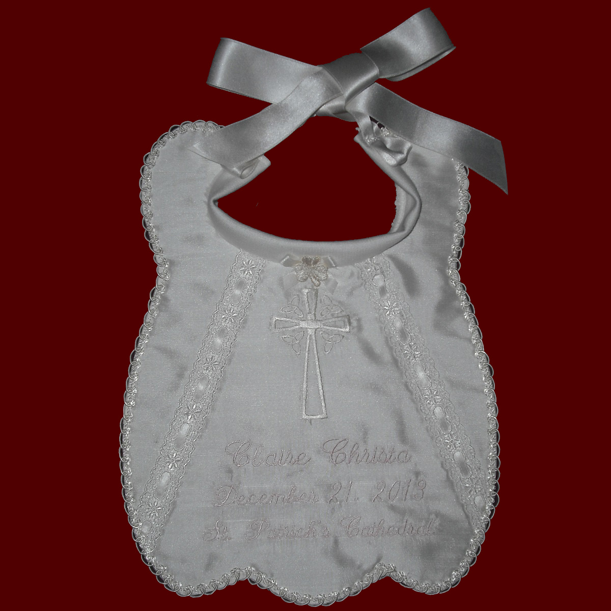 Silk Bib With Celtic Cross & Swirled Heart Trim