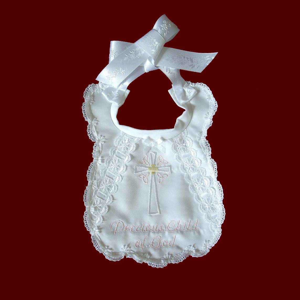 Precious Child of God Girl Christening Bib