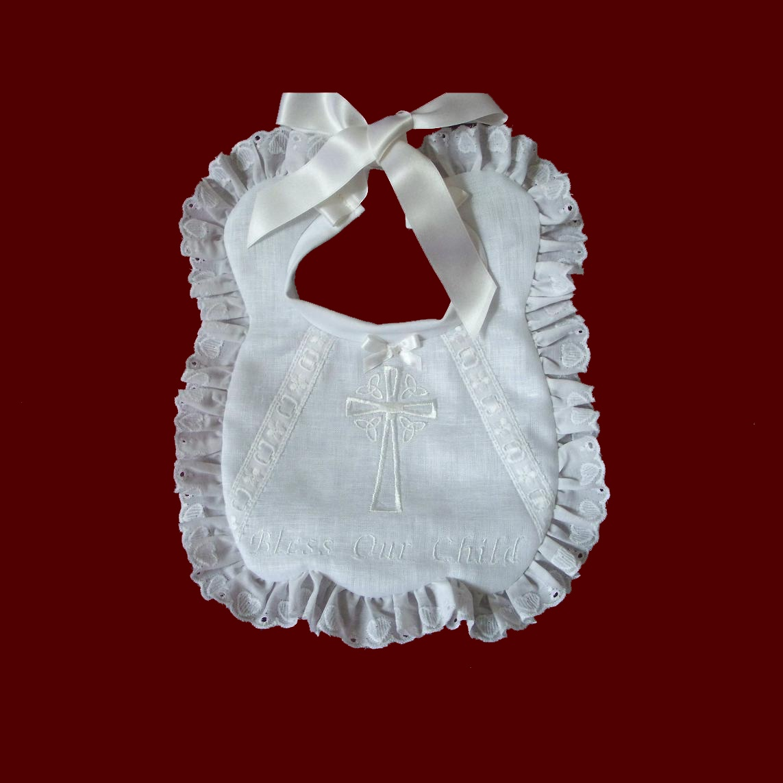 Irish Linen Girls Christening Bib