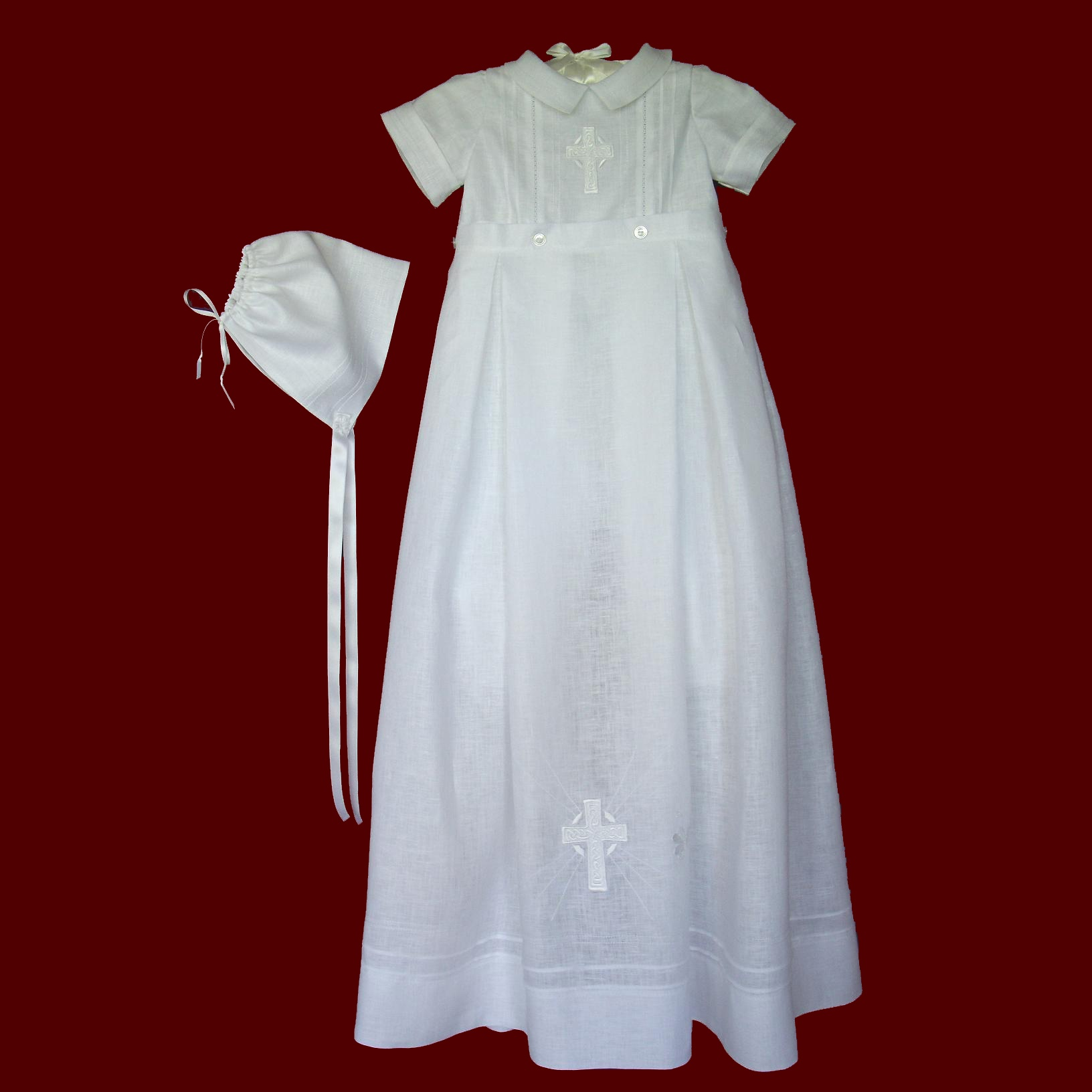 645a89396 Boys Irish Linen Christening Gown With Celtic Cross & Hat - Irish ...