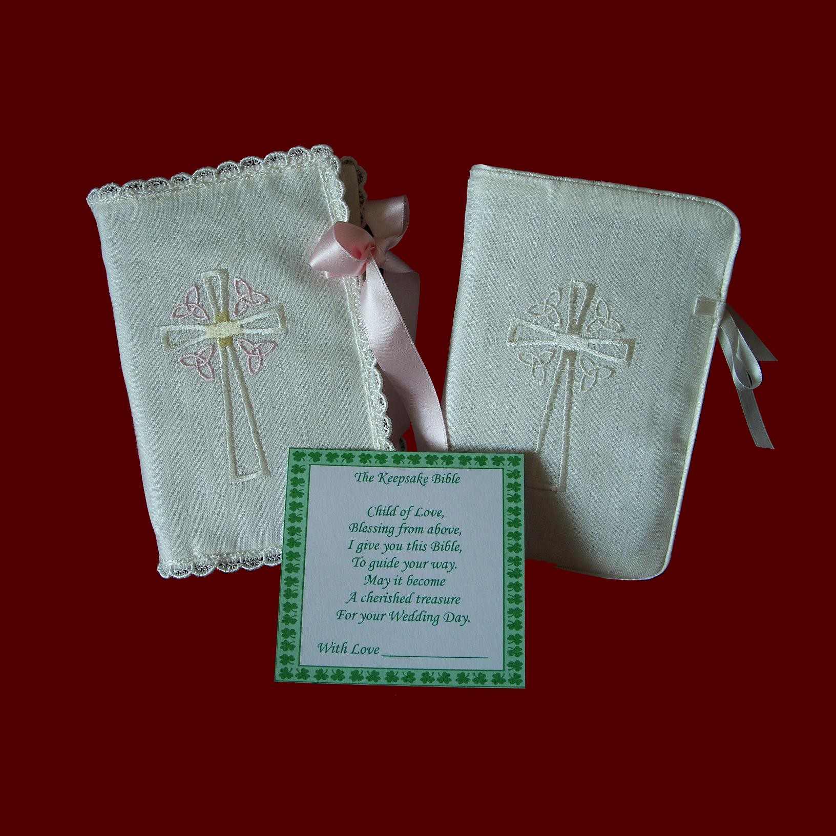 Ivory Irish Linen Bibles Celtic Cross Trinity Knots,