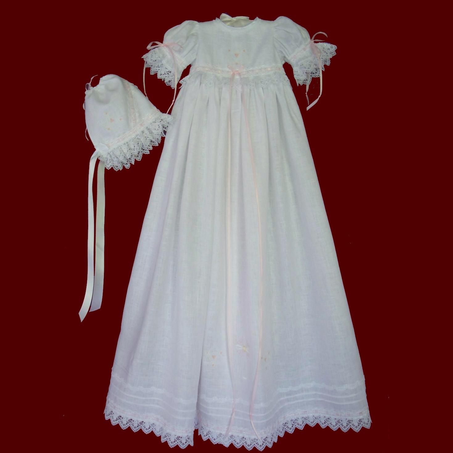 Trinity Roses Irish Linen Christening Gown & Bonnet - Irish Girls ...