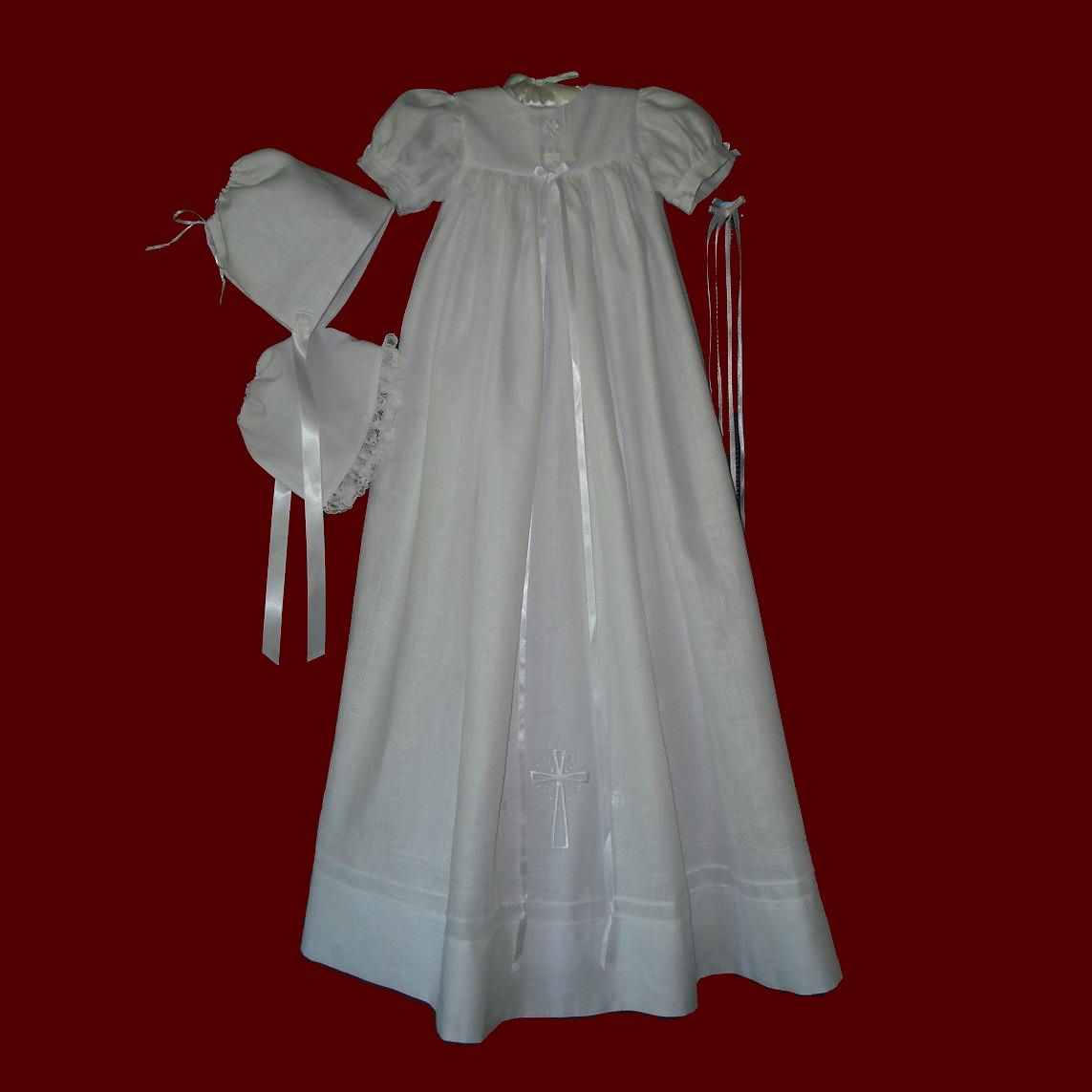 Unisex Embroidered Cross Irish Christening Gown