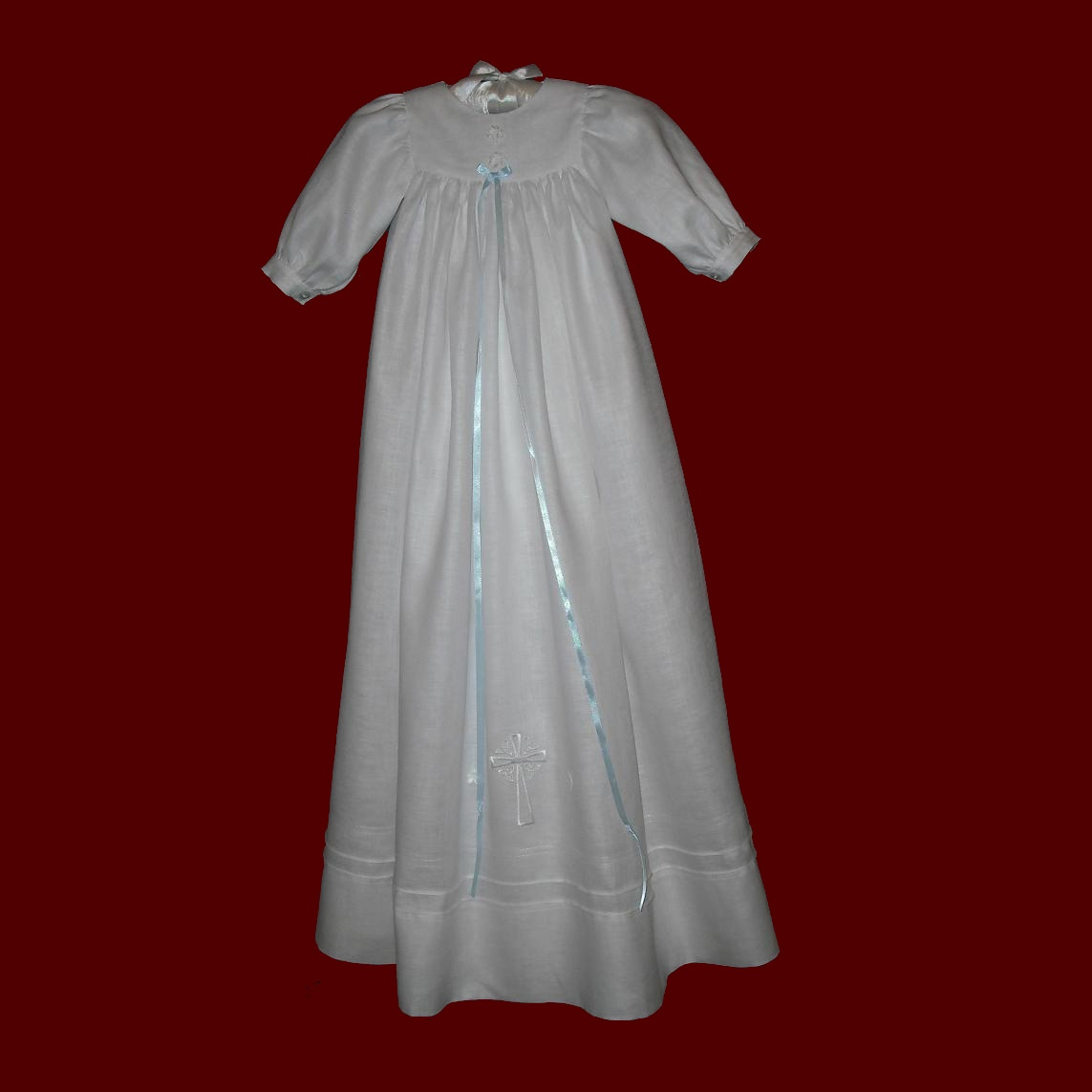 Unisex embroidered cross irish christening gown irish for Making baptism dress from wedding gown