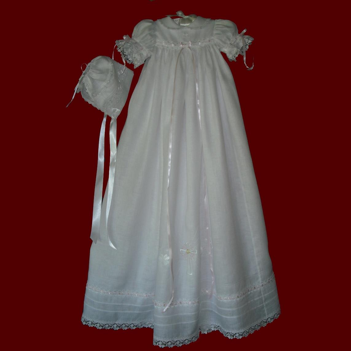 Shamrock Venice Lace Girls Christening Gown & Magic Hanky Bonnet ...