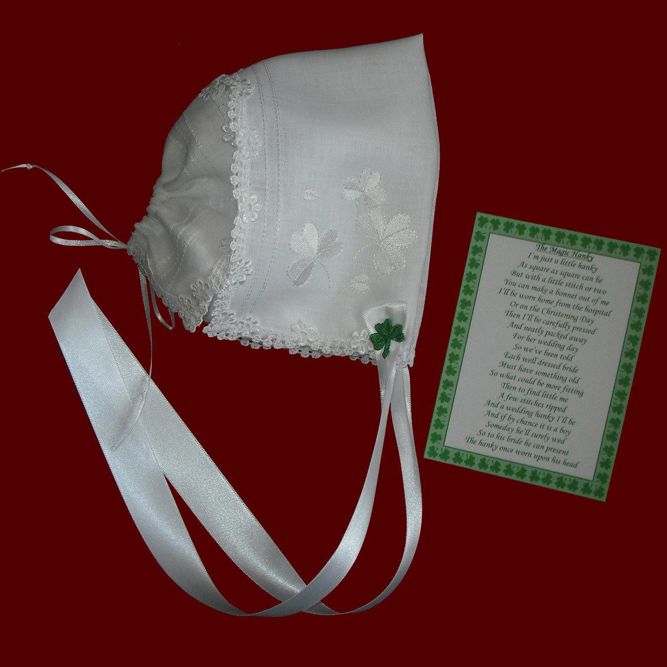White Irish Linen With Scalloped Venice Lace, Kelly Green Shamrock