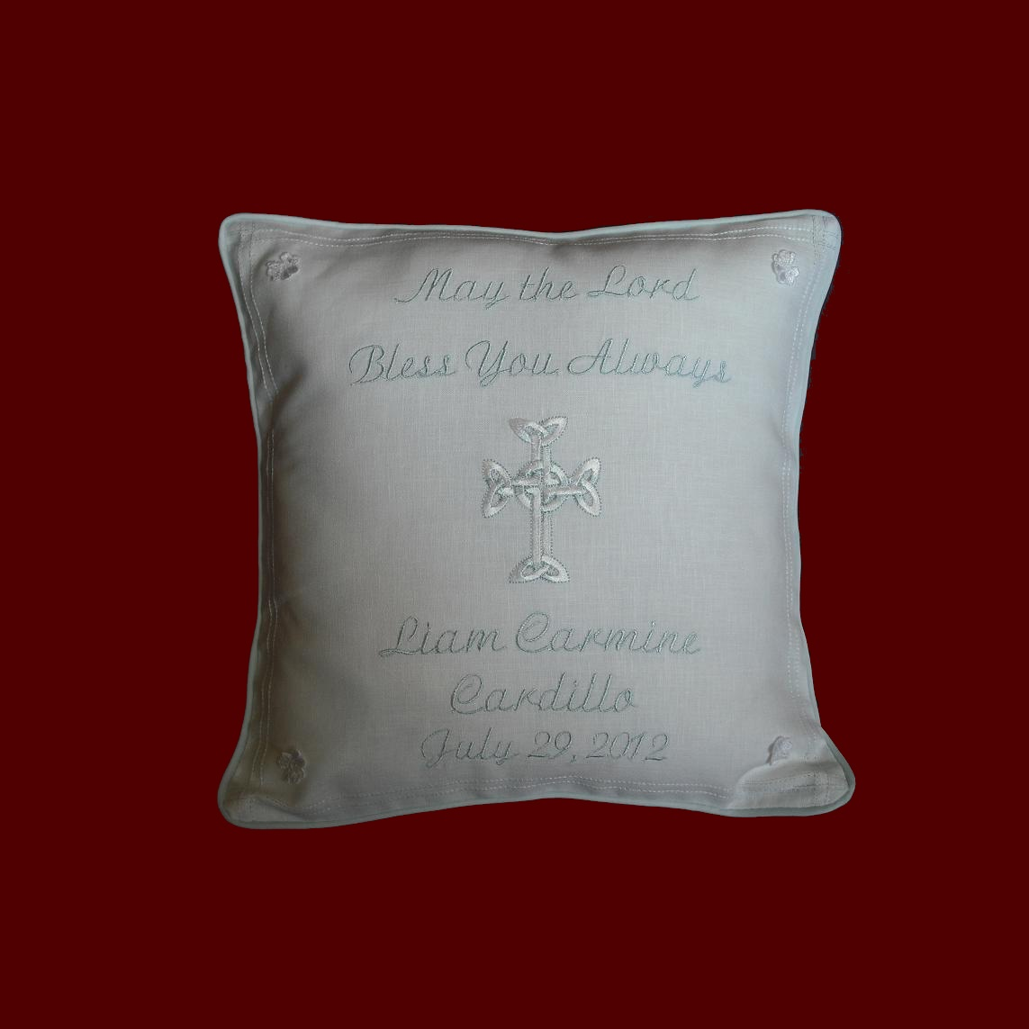 """May The Lord Bless You Always"" Christening Pillow"