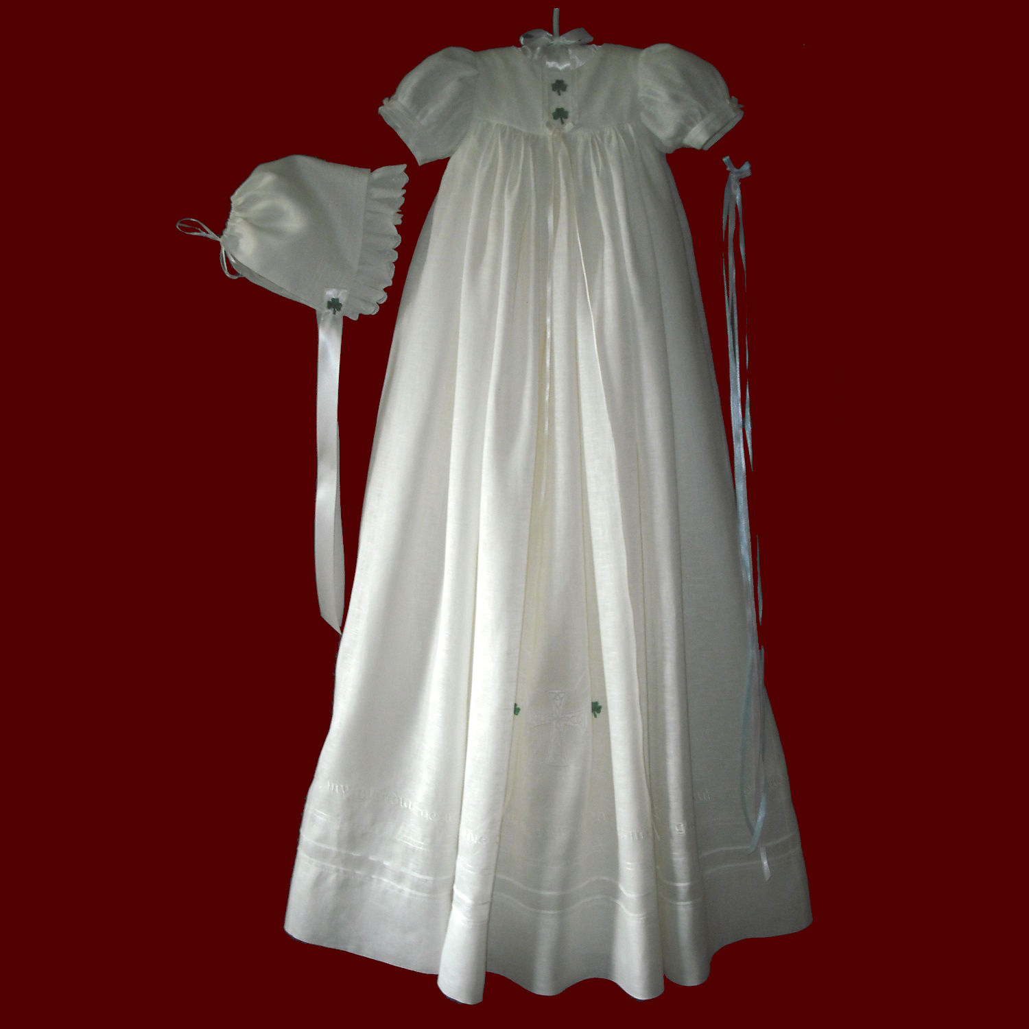 Irish Linen Unisex Embroidered Guardian Angel Prayer Gown, Personalized Slip & Bonnets