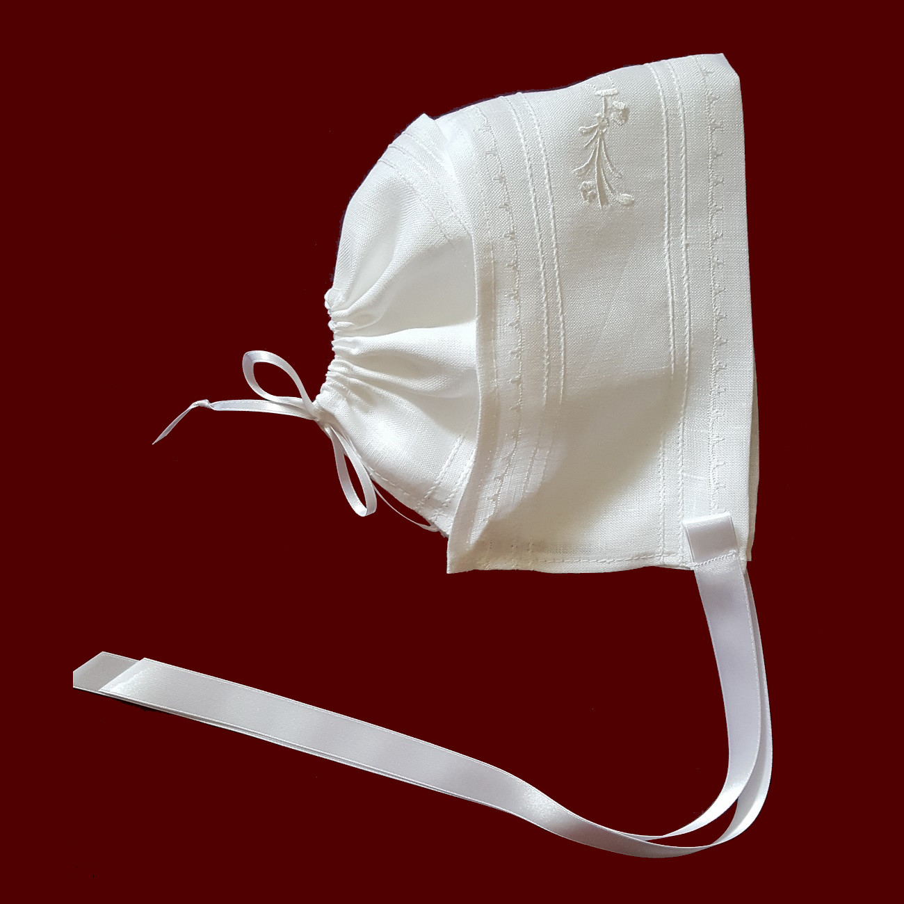 Irish Linen Magic Hanky Bonnet With Embroidered Claddagh