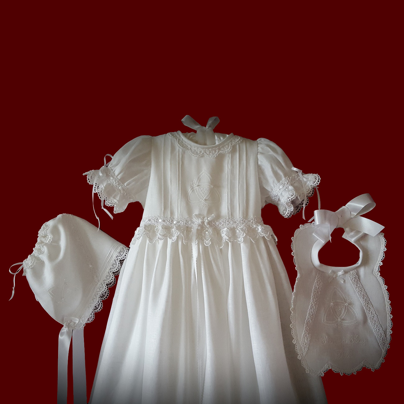 Irish Girls Christening Gown With Embroidered Celtic Cross