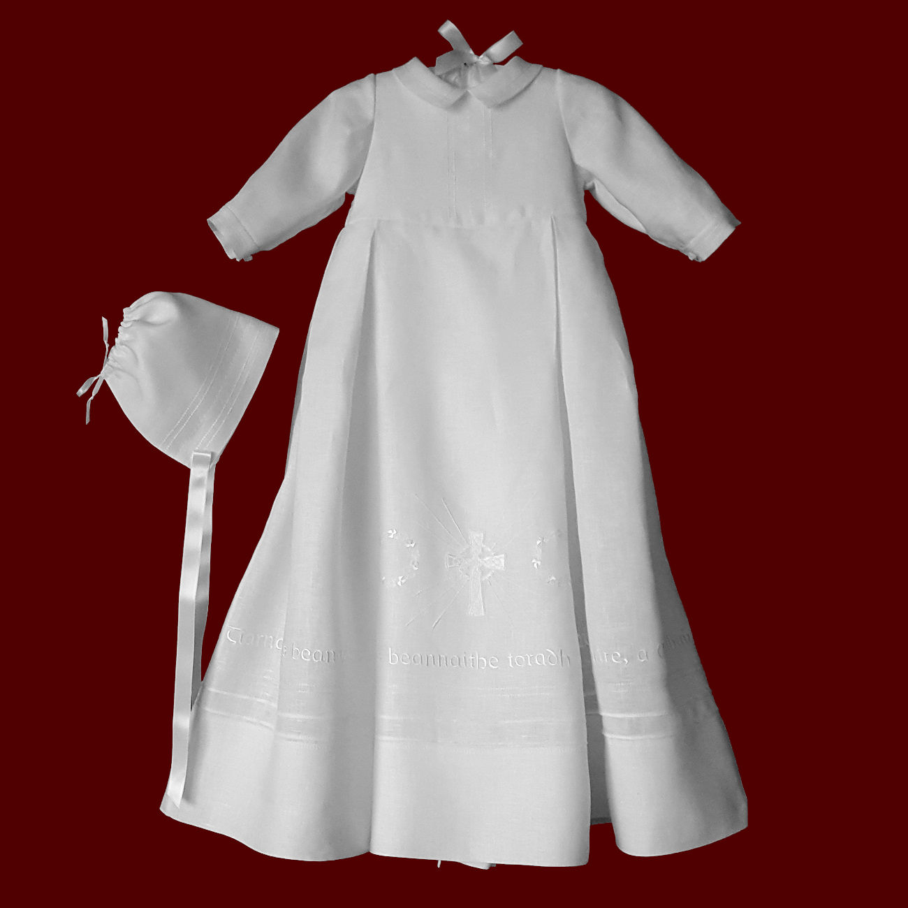Gaelic Hail Mary Irish Linen Gown for Boys With Celtic Cross & Circle of Shamrocks