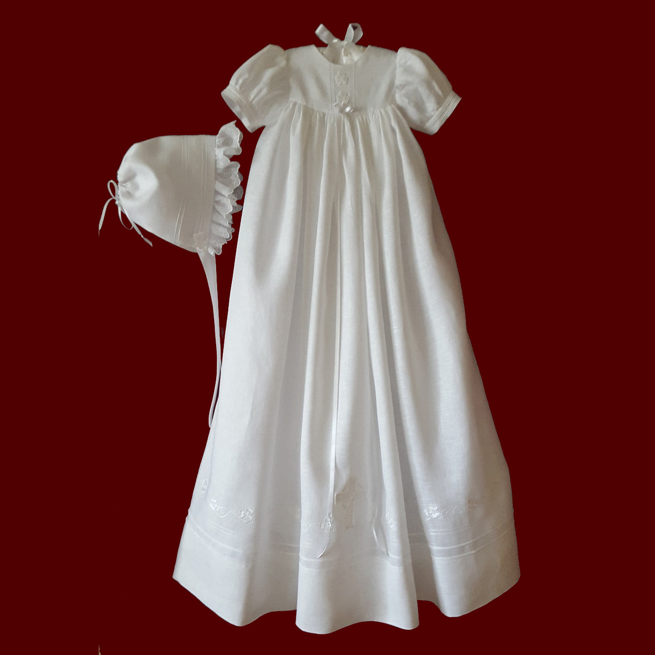 Traditional Unisex Irish Christening Gown with Shamrock Swirl Border & Celtic Cross, Slip & Hat