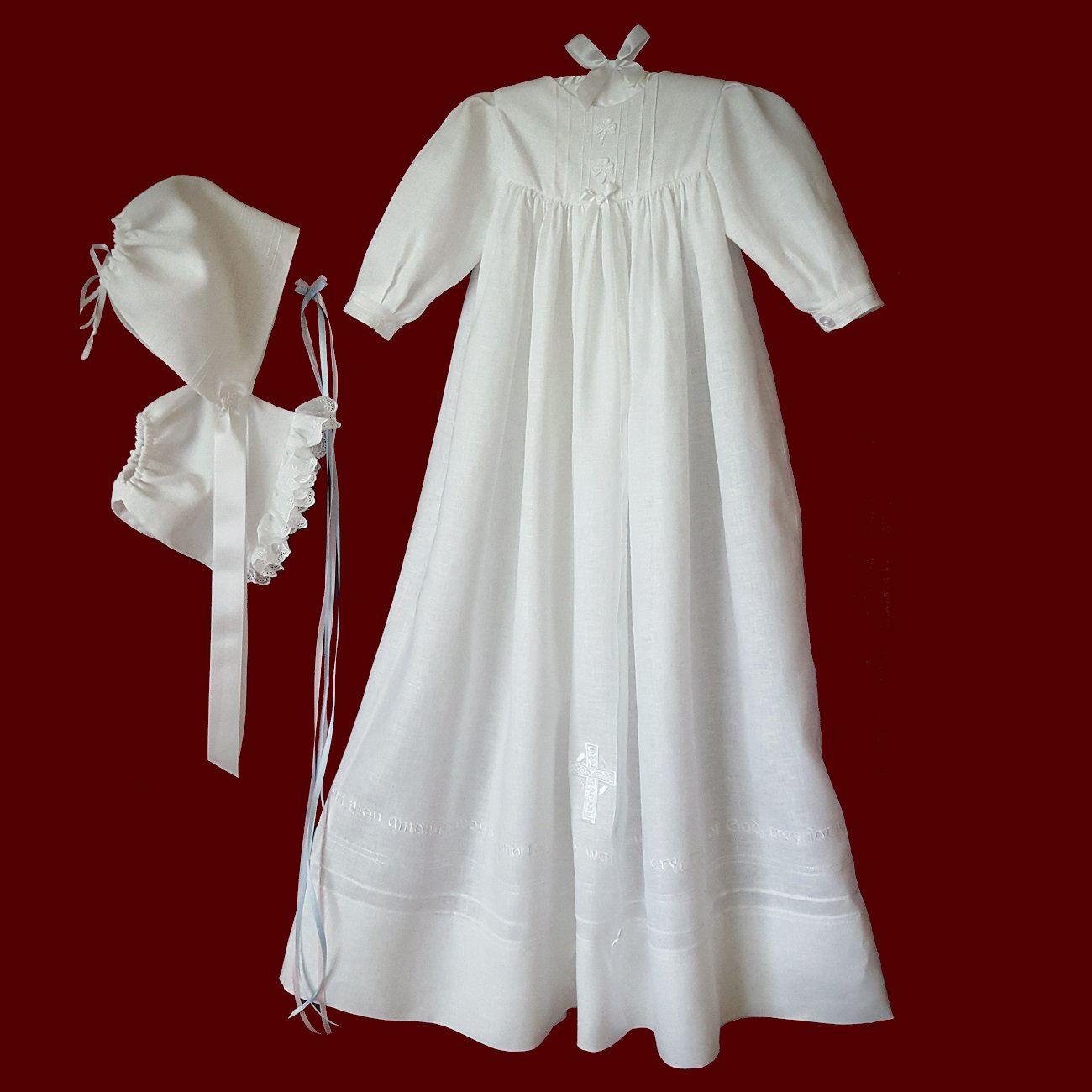 Irish Linen Hail Mary Prayer Unisex Christening Gown, Slip & Bonnet With Girl Liner, Size 3-6 Months
