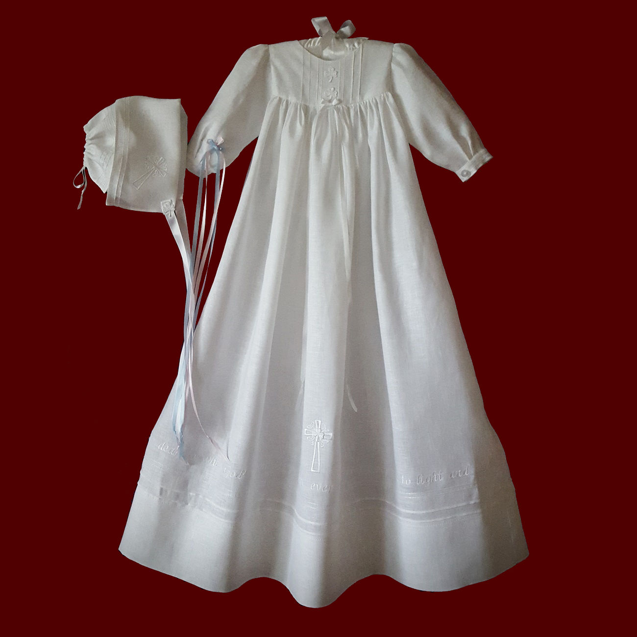 Angel of God Irish Linen Unisex Christening Gown With Magic Hanky Bonnet, Size 3-6 Months