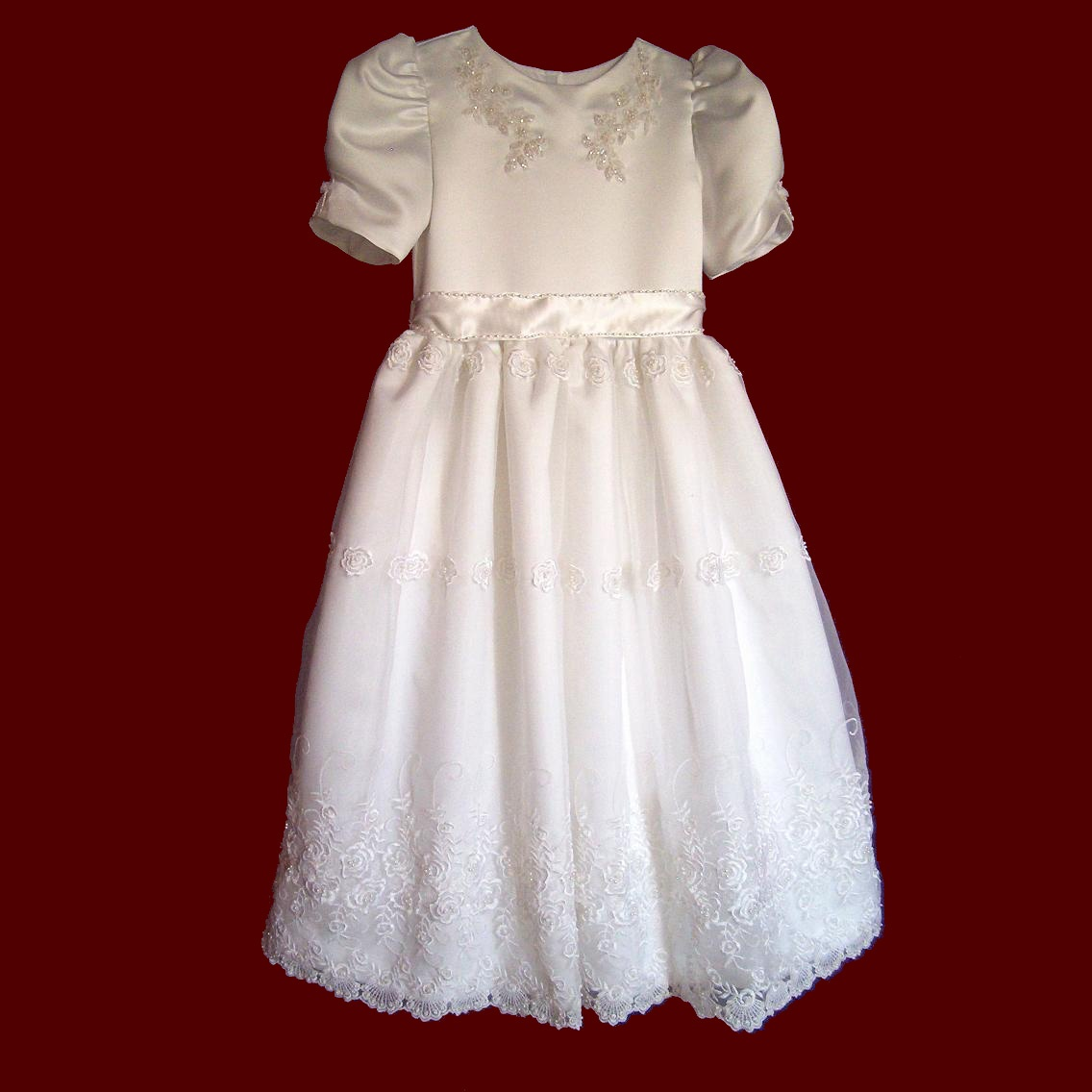 Beaded Embroidered Organza First Holy Communion Dress