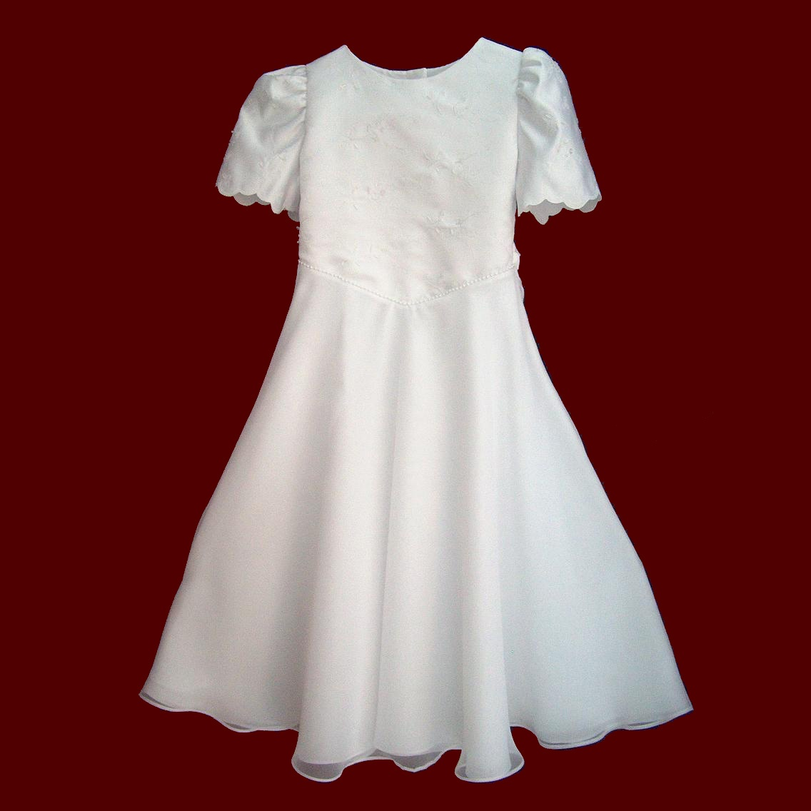 Beaded Satin With Chiffon First Holy Communion Dress