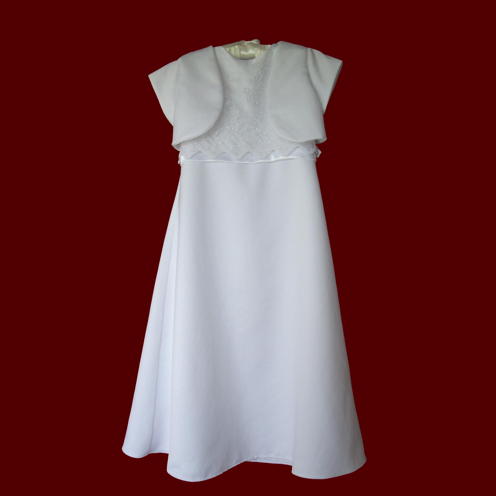 A-line Sleeveless Communion Dress With Optional Jacket
