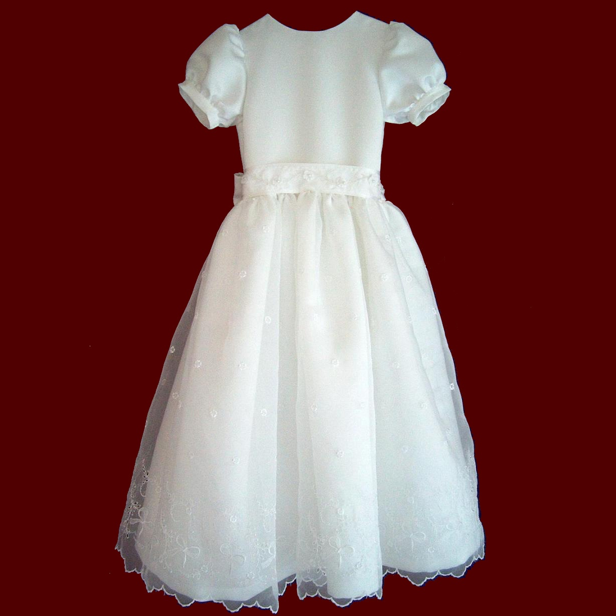Duchess Satin With Embroidered Organza Communion Dress