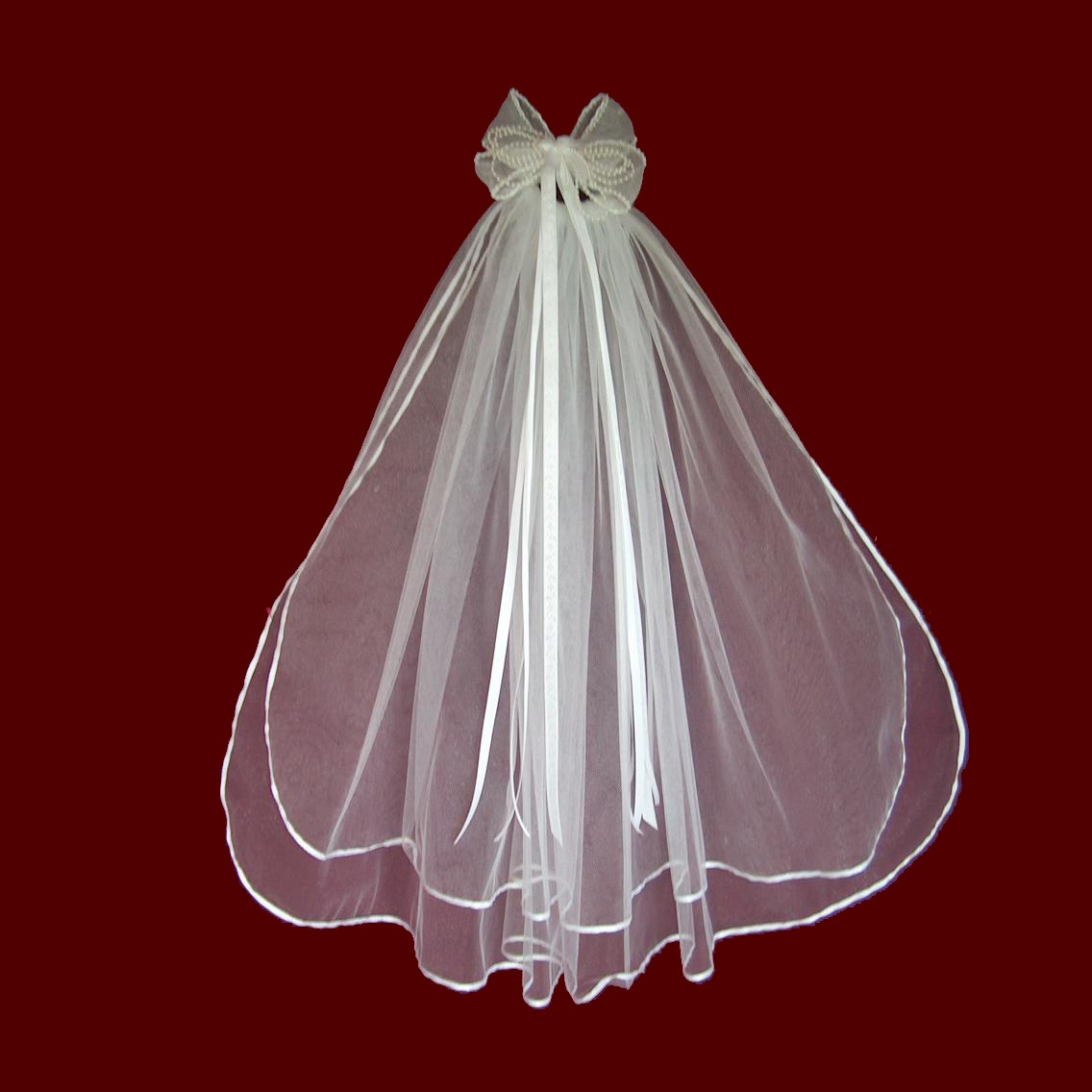 Organza Hairbow With Pearls & Veil With Optional Tiara