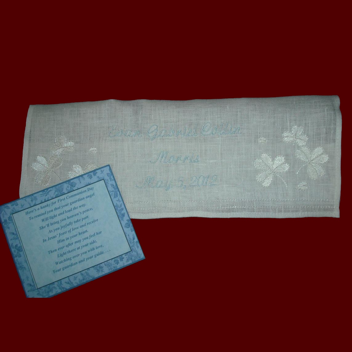 Personalized Communion Hanky With Shamrocks